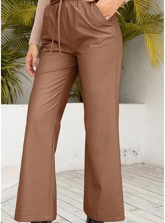 Solid Kırpılmış gündelik Pantolonlar