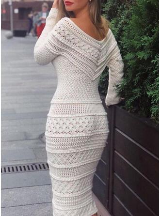 Sólido Sin Hombros Casuales Largo Ajustado Vestido de Suéter