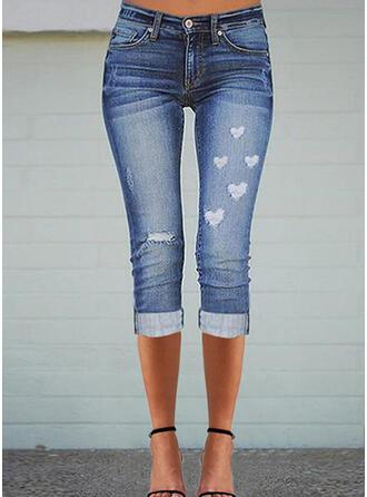 Tisk Srdce džínovina Capris Neformální Plus velikost hlubokým výstřihem Bandáž Kalhoty Denim & Džíny