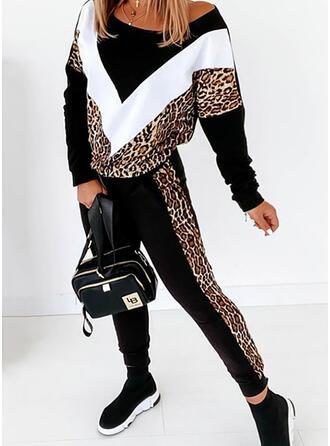 leopárd Színblokk sportszerű Alkalmi Molett Pulóverek & Kétrészes ruhák Set ()