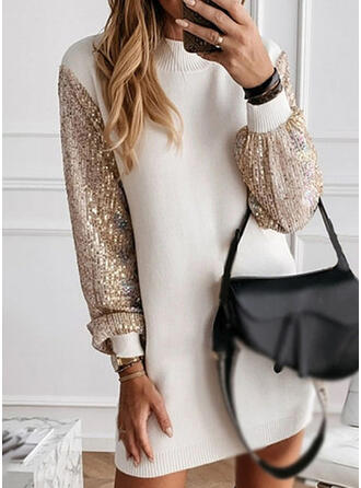 Patchwork Round Neck Casual Long Sweater Dress