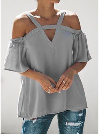Jednobarevný Odhalená Ramena 1/2 rukávy Neformální Bluze