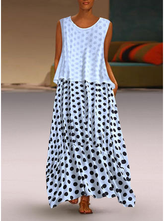 PolkaDot Sleeveless Shift Casual Maxi Dresses