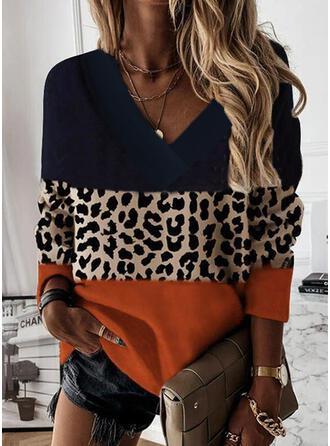 Trozos de color Leopardo Cuello en V Manga Larga Sudadera