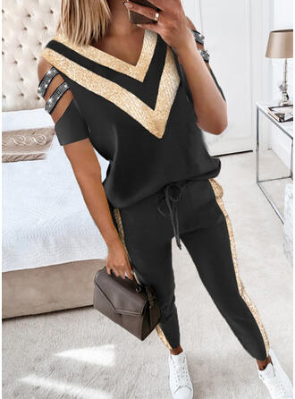 Color Block Fritids blus & Tvådelade kläder uppsättning