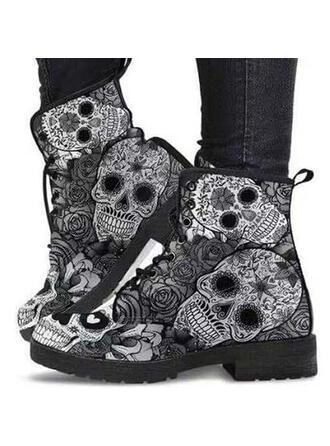 Femmes PU Talon bottier Bottes Martin bottes avec Dentelle Imprimé fleur chaussures