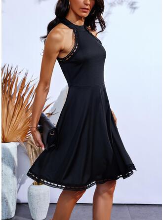 Solid Kolsuz Bir Çizgi Deasupra Genunchiului Negre/gündelik Patenci Elbiseler