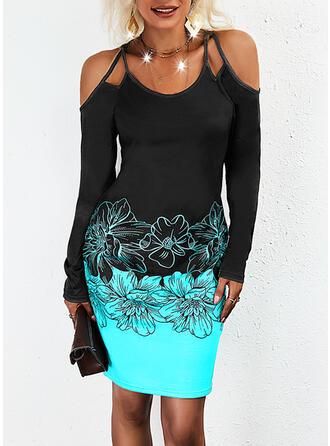 Imprimeu/Floral/Renkli klişe Mâneci Lungi Soğuk omuz kılıfı Manşon Deasupra Genunchiului gündelik Elbiseler