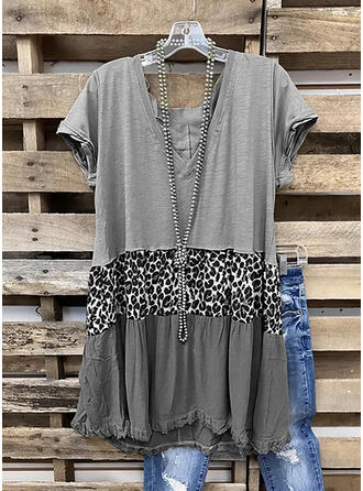 Color Block Leopard V-Neck Short Sleeves Casual Blouses