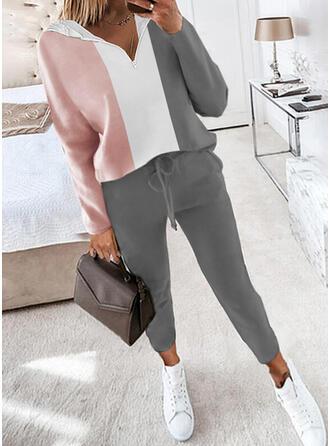 Color Block Fritids Extra stor storlek sweatshirts & Tvådelade kläder uppsättning