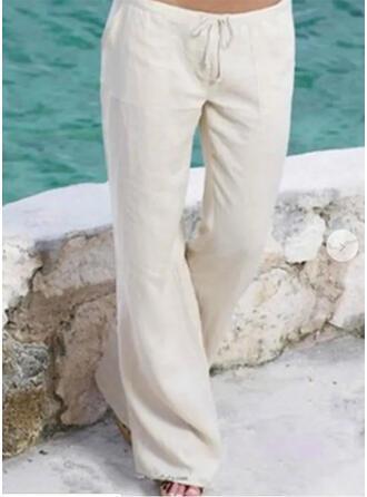 Pockets Shirred Plus Size Long Boho Casual Long Pants