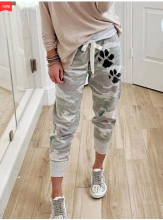Animal Print Camouflage Drawstring Casual Sporty Pants Lounge Pants