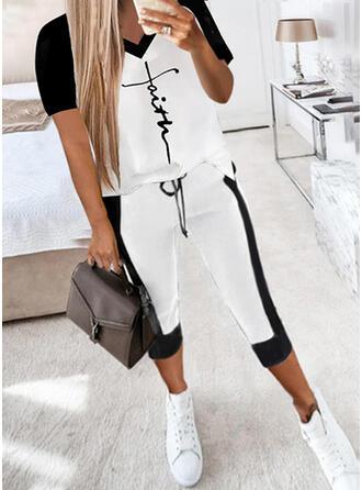 Color Block Tisk Dopis Neformální Plus velikost handsstring Dvoudílné outfity