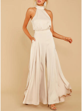 Solid Halter neck Ærmeløs Elegant Party jumpsuit