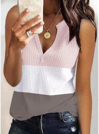 Trozos de color Cuello en V Sin mangas Camisetas sin mangas