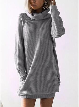 Solid Cep Helancă Rochie pulover