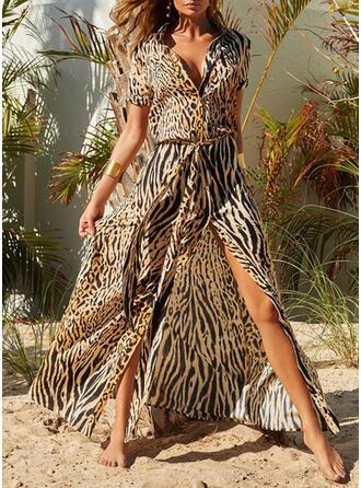 Trykk/Leopard Kortermer Kvinnedrakt Skjorte Casual/Ferie Maxi Kjoler