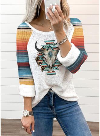 Renkli klişe Imprimeu Hayvan Guler Rotund Mâneci Lungi Tişörtler