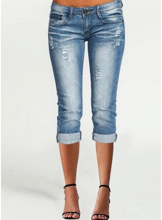 Pevný Capris Neformální Plus velikost hlubokým výstřihem patch Bandáž Knoflík Kalhoty Denim & Džíny