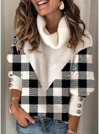 Bloque de Color Cuadros Cuello De Tortuga Casuales Suéteres