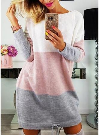 カラーブロック 縞模様の ラウンドネック カジュアル セーター