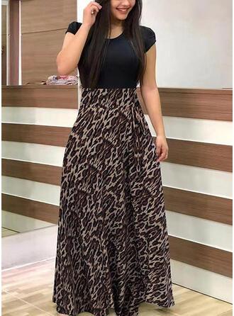 Plus velikost Leopard Krátké rukávy Do tvaru A Maxi Neformální Šaty