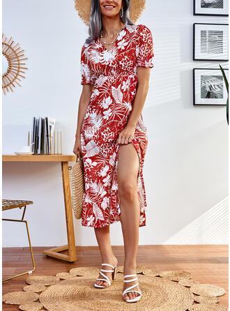 Imprimeu Mâneci Scurte Bir Çizgi Patenci gündelik Midi Elbiseler