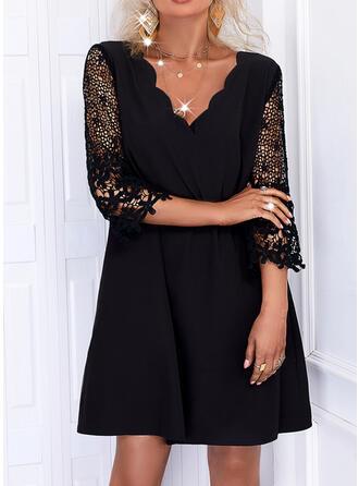 Solid Dantel Măneci Trei Sferturi Shift Elbiseleri Deasupra Genunchiului Negre/gündelik Tunică Elbiseler