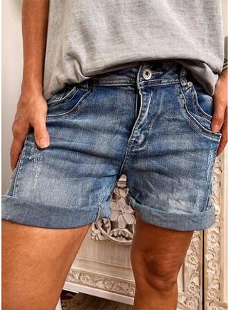 Juan Por encima de la rodilla Casual Tallas Grande Bolsillo Botones Pantalones Pantalones cortos Vaqueros