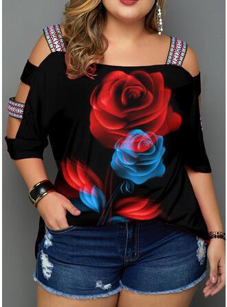Imprimée Fleurie Épaule Froide Manches 3/4 Décontractée Grande taille T-shirts