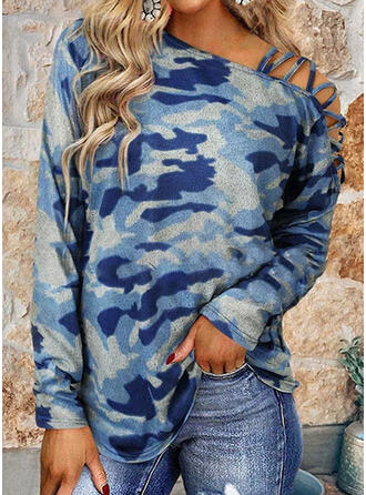 Camouflage One Shoulder Long Sleeves T-shirts