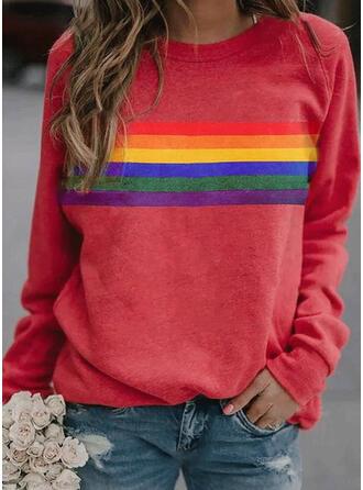 Stribe rund hals Lange ærmer Sweatshirts