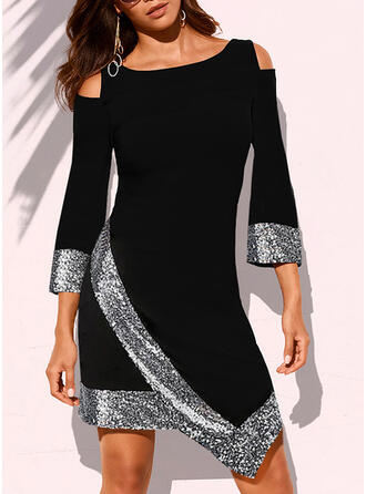 Sequins 3/4 Sleeves/Cold Shoulder Sleeve Sheath Above Knee Casual Dresses