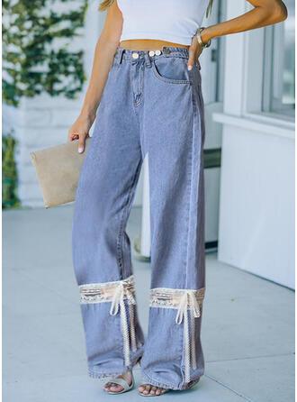 Renkli klişe Dantel Uzun gündelik İlmek Pantolonlar