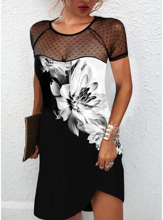 Imprimeu/Floral/Renkli klişe Mâneci Scurte Shift Elbiseleri Deasupra Genunchiului gündelik Tunică Elbiseler