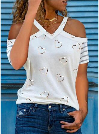 Potisk Inima Odhalená Ramena Krátké rukávy Neformální Bluze