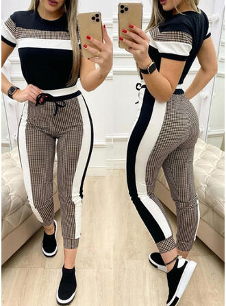 Color Block Sporty Casual Plus Size Tee & Two-Piece Outfits Set