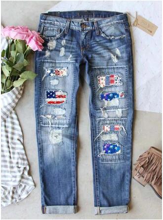 Imprimeu sökülmüş gündelik Nostaljik Kot pantolon