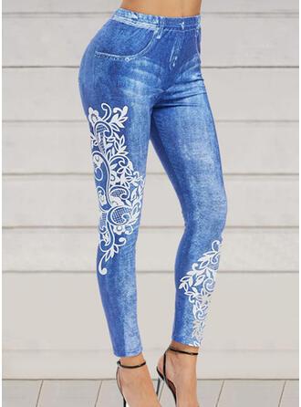 Trykk Pluss størrelse Lang Elegant Sexy Bukser leggings