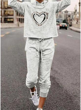 Hjärta Print Sportig Fritids Extra stor storlek sweatshirts & Tvådelade kläder uppsättning