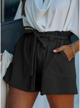 Solid Above Knee Elegant Drawstring Pants Shorts