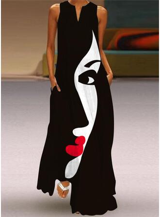 Tisk Bezrukávů Šaty Shift Neformální Maxi Šaty