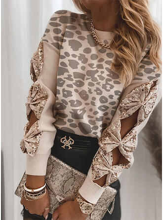 Leopardo lantejoulas Gola Redonda Casual Suéteres
