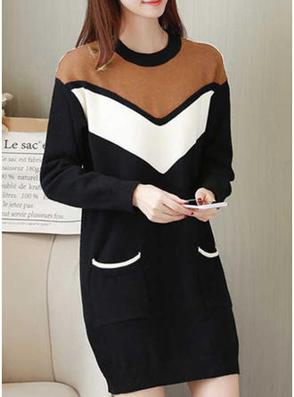 Bloc de culori Guler Rotund Rochie pulover