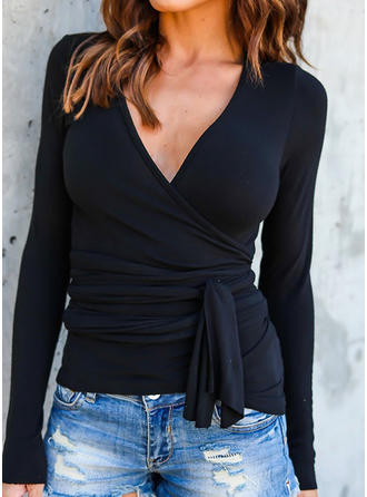 Solid V-Neck Long Sleeves Casual Sexy T-shirts