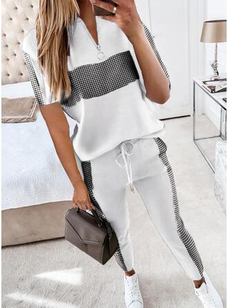 Pläd Fritids Extra stor storlek blus & Tvådelade kläder uppsättning
