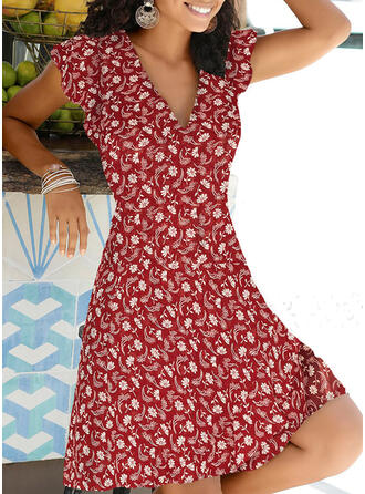Print/Floral Cap Sleeve A-line Knee Length Casual/Vacation Dresses