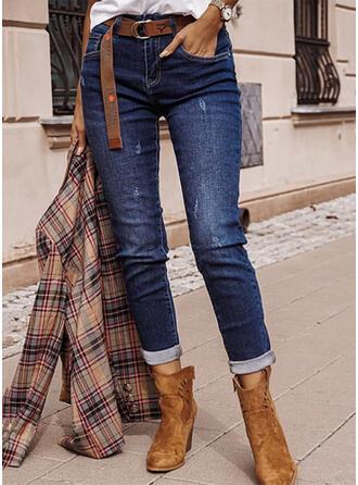 Sólido Jean Grandes Casual Elegante Tamanho positivo Bolso rasgado Jeans