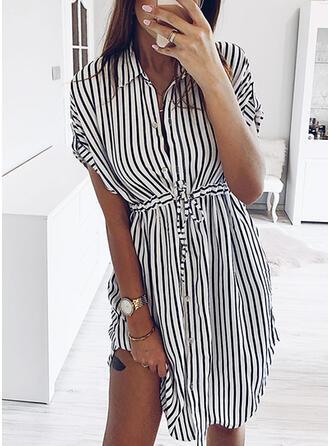 Striped Short Sleeves Sheath Knee Length Casual/Elegant Dresses
