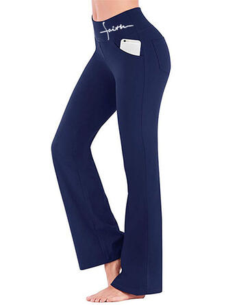 Solid Trykk Avslappet Sexy Mager Yoga Vanlig leggings